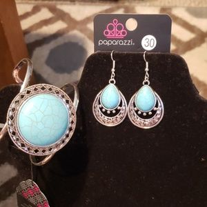 Turquoise and silver bracelet and earring